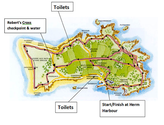 Herm World Aid Walk route map 2013